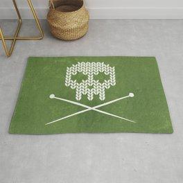 Knitted Skull - White on Olive Green Rug