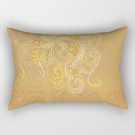 Samoan Golden Tribal Tapa Design Rectangular Pillow