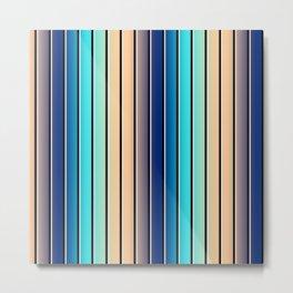 Beach Stripe 5, Variegated Vertical, Black and White Stripes Metal Print