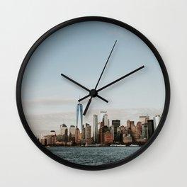 Skyline Upper Bay Sunset | Colourful Travel Photography | New York City, America (USA) Wall Clock