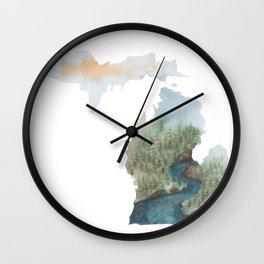 Michigan Watercolor Wall Clock