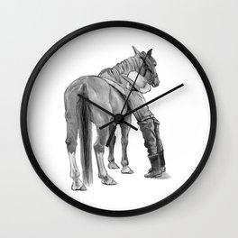 A Cowboy and His Horse, Pencil Drawing Wall Clock