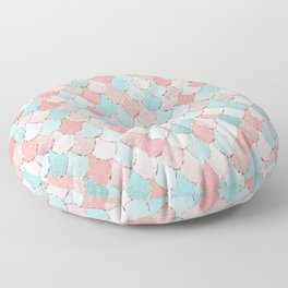 Mermaid Art, Cute, Coral and Teal, Fun Bathroom Art Floor Pillow