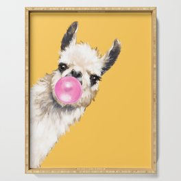 Bubble Gum Sneaky Llama in Yellow Serving Tray