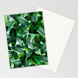 Banana palm leaf tropical jungle green Stationery Cards