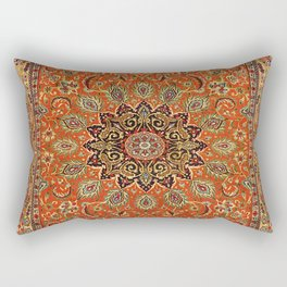 Central Persia Qum Old Century Authentic Colorful Orange Yellow Green Vintage Patterns Rectangular Pillow