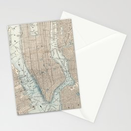 Vintage Map of New York City (1893) Stationery Cards