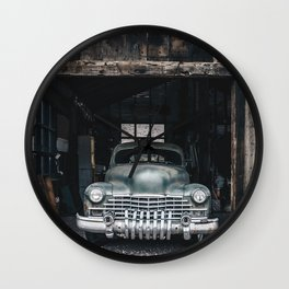 Old vintage car truck abandoned in the desert Wall Clock