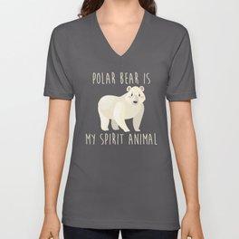 Funny Polar Bear Is My Spirit Animal Cute Design Unisex V-Neck