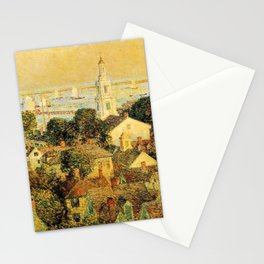Classical Masterpiece 'Provincetown' by Frederick Childe Hassam Stationery Cards