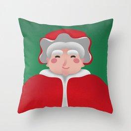 Mrs. Claus Christmas Portrait Throw Pillow