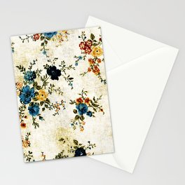 Cream Blue Yellow Floral Stationery Cards