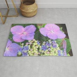 Lavender Flower Photography - Lace-cap Purple Hydrangea Flower Custom Floral Art Rug