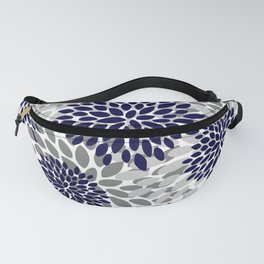 Abstract, Floral Prints, Navy Blue and Grey Fanny Pack