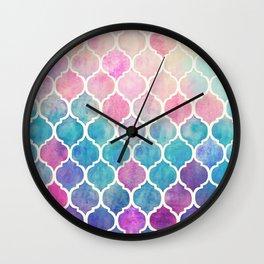Rainbow Pastel Watercolor Moroccan Pattern Wall Clock