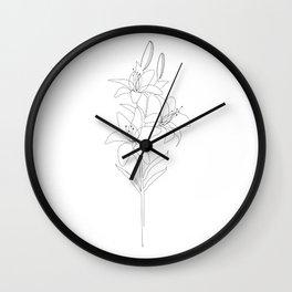 Lily Line Art Wall Clock