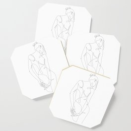 ligature - one line art Coaster