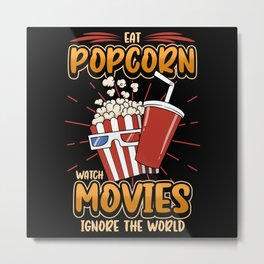 Popcorn Movie Series Cinema Funny Movie Night Gift Metal Print