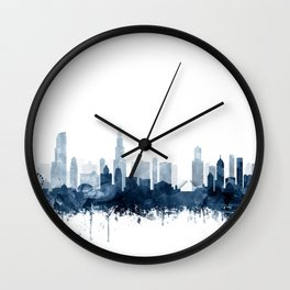Chicago Skyline Navy Blue Watercolor by Zouzounio Art Wall Clock