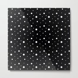 White polka dots on black. Metal Print