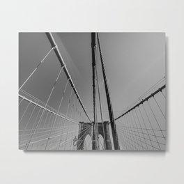 Brooklyn bridge lines, New York | Abstract NYC artwork | Black and white art photography Metal Print
