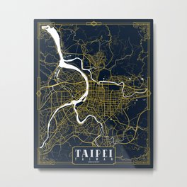 Taipei City Map of Taiwan - Gold Art Deco Metal Print