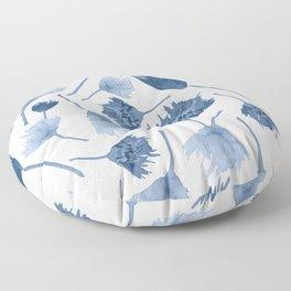 Indigo abstract watercolor flowers Floor Pillow
