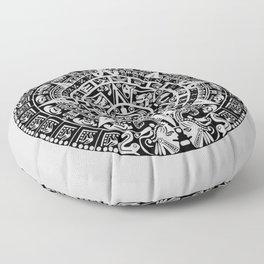 Mayan Calendar // Light Grey Floor Pillow
