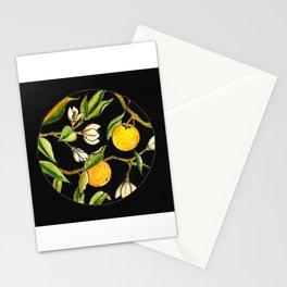 Orange Tree Circular Illustration Design On Textured Black Background Stationery Cards