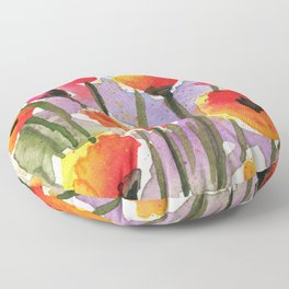 Colorful Orange Poppies - Watercolor Floor Pillow