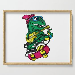 Comic - Dino Trex Music Skater - bright Serving Tray