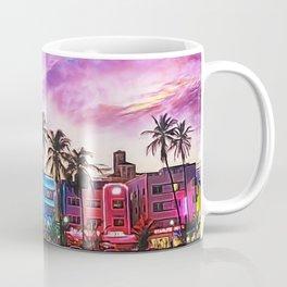 South Beach, Miami Lummas Park Twilight Pink Sunset landscape painting by Jeanpaul Ferro Coffee Mug