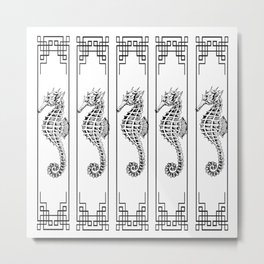 Seahorse Pattern in Black and White Metal Print