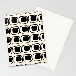 Mod 3 Retro Minimalist Pattern in Black and Almond Cream Stationery Cards