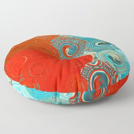 Red and Turquoise Swirls Floor Pillow