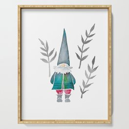 Winter Gnome - Silver Leaves Serving Tray