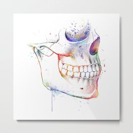 Skull Jaws Teeth Colorful Anatomy Watercolor Drawing Metal Print