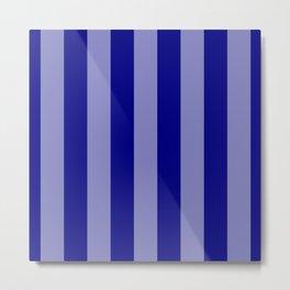 Wide Navy Blue Beach Hut Stripe Metal Print
