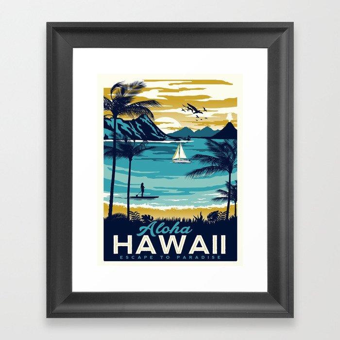 Vintage poster - Hawaii Gerahmter Kunstdruck
