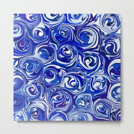 China Blue Paint Swirls Metal Print