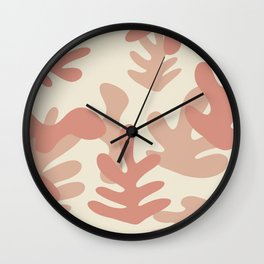 Matisse Inspired Peach Apricot Beige Leaf shapes Wall Clock