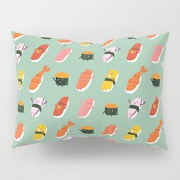 Sushi Kawaii Green Pattern Pillow Sham
