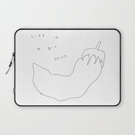 Vegetable Chili Pepper Illustration Humor - Life Is A Bit Spicy no.4 Laptop Sleeve