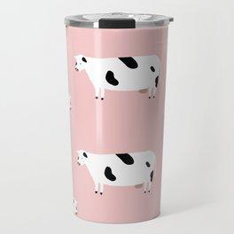 Pink Cow Pattern Travel Mug