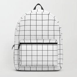 Small Black Grid on White Backpack