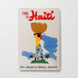 Come to Haiti Vintage Travel Poster Metal Print