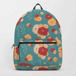 Anemone Floral Bouquets on Blue Backpack