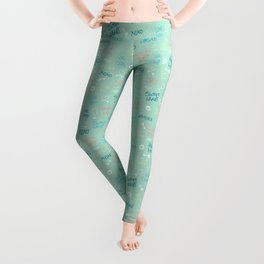 First love: Handdrawn doodle & text pattern in aquamarine Leggings