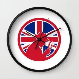 British Private Investigator Union Jack Flag Icon Wall Clock