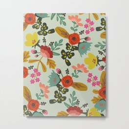 Muted Tone Floral Metal Print